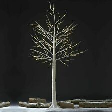 140cm White Silver Birch 128 LED Twig Tree Rustic Pre Lit Christmas Decoration