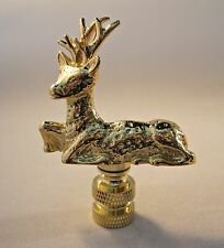 Lamp Finial-DEER-Polished Brass Finish, Highly detailed metal casting