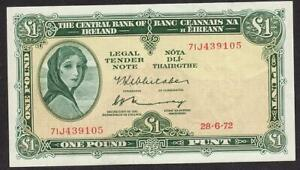CENTRAL BANK OF IRELAND 1 POUND BANKNOTE 1969/70 ABOUT EF