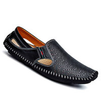 Mens Summer Breathable Leather Sandals Slip On Brogue Shoes Casual Driving Flats