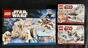 LEGO Star Wars 8089+8083+8084. Hoth Wampa Cave. Rebel Trooper, Snowtrooper Pack.