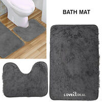 SOFT SHAGGY DESIGN BATH MAT SET 2 Pcs Non Slip Pedestal Mat Toilet Bathroom Grey