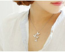 New Micro Pave Clear White Zircon Silver Plated Butterfly Chain Necklace Pendant
