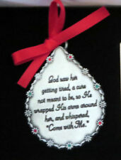 Memorial Ornament God Saw Her Getting Tired Teardrop Christmas Pewter New