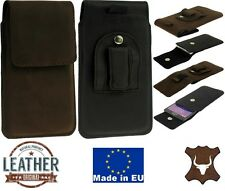 FLAP GENUINE LEATHER POUCH WITH BELT CLIP AND LOOP CASE COVER FOR MOBILE PHONES