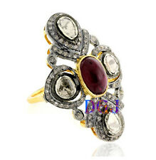 925 Sterling Silver Ring Rose Cut Ruby Ring Antique Vintage Diamond Ring