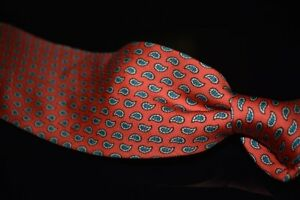 Brooks Brothers Made in USA Bright Coral Foulard Silk Neat Paisley Layout Tie NR