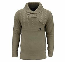 Soul Star Men's Chatsworth Shawl Neck Cable Jumper Top Taupe