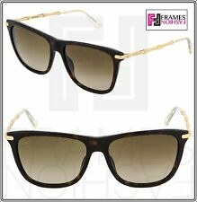 GUCCI GG3778S Brown Havana Gold Bamboo Square Sunglasses Bio Based Women 3778