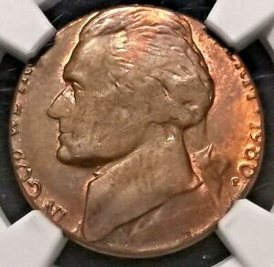 1980-P Jefferson Nickel  NGC MS62RB  Struck on copper planchet  Mint Error
