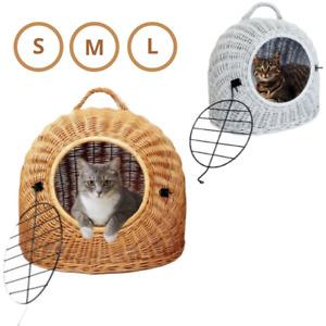Katzenkorb aus Weide Katzentransportbox Transportkorb für Katzen, kleine Hunde S