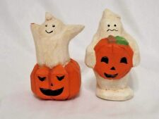 2 Midwest Importers Cannon Falls Halloween Ghost Figurines Jack O'Lanterns