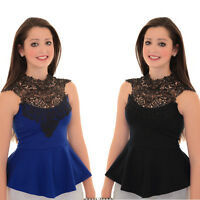 Women's Lace Crochet Trim Neck Knot Back Sleeveless Ladies Peplum Top 8-14