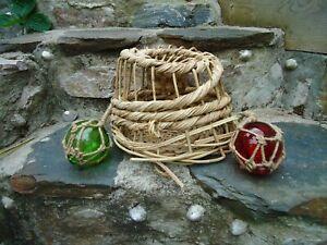 Lobster pot & 2 Glass Floats Traditional Wicker Style / Fishing Boat Fish Net S