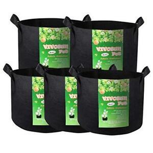 3 Gallon Fabric Pots Grow Bags with Handles Black 5Pack VIVOSUN Gardening Soil