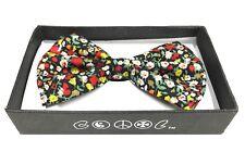 Black Floral Men Women Bow-tie  Clip-On Neck-wear Tuxedo
