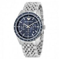 ARMANI MENS TAZIO CHRONOGRAPH WATCH AR6072 BLUE DIAL METAL STRAP,COA, RRP £289