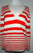 GAP Women's V-Neck Sweater Red/Cream Stripe Long Sleeve Size XL $44.50 NWT