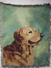 USA Made NWOT Linda Picken Golden Retriever Tapestry Throw Blanket Afghan #429