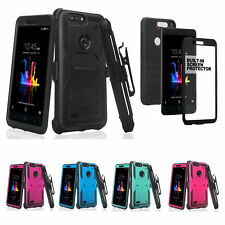 ZTE ZFive G LTE Z557BL Rugged Built-in Screen Protector Holster Shell Combo Case