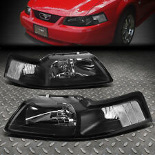 For 1999 2004 Ford Mustang Pair Black Housing Clear Corner Headlight Lamp Set Fits