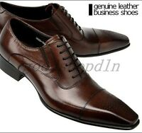 Luxury Mens Genuine Leather Pointed Toe Dress Formal Lace Up Wedding Shoes SIZE