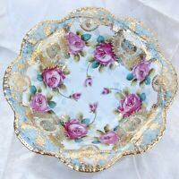 """Antique Heavy Gold Nippon Bowl Hand Painted Purple Roses Maple Leaf Mark 10.5"""""""