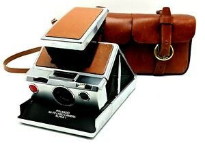 Polaroid SX-70 Land Camera Alpha 1 Brown Leather w/ case For PARTS / REPAIR
