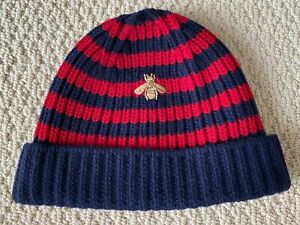 NWT Gucci Gold Embroidered Bee Striped Navy Blue Red Knit Wool Beanie Hat $695