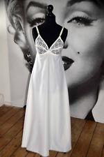 Década de 1950 Blanco Encaje Maxi Vestido Noche Vestido Ropa de Dormir deslizamiento