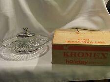 VINTAGE KROMEX LAZY SUSAN GLASS DISHES & DIP BOWL SET TURNING PEDESTAL TRAY BOX