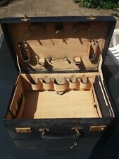 Blue Leather Fitted Dressing Case , + Key , monogrammed C M W