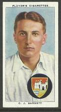 PLAYERS 1938 CRICKETERS C.J. Barnett Card No 2 of 50 CRICKET CIGARETTE CARDS