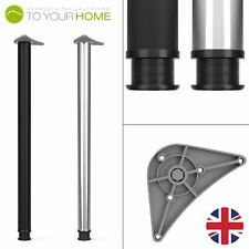 1100mm Black Chrome Adjustable Kitchen Worktop Breakfast Bar Table Legs Support