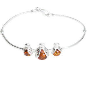925 Sterling Silver Genuine Baltic Amber Bangle Bracelet Free Gift Bag