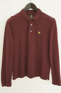 Men Lyle & Scott Rugby Shirt Long Sleeves Polo Neck Cotton Burgundy Red S XNA107