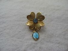 BEAUTIFUL Religious MOTHER MARY Gold Tone FLOWER BLUE JEWEL Pin Brooch ~