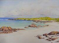 WATERCOLOUR WHITE STRAND IONA ARTIST JOYCE DALGETY   FREE SHIPPING ENGLAND