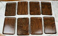 "8 Japanese Plastic Faux Wood Grain Sushi Snack Trays  8.25"" x 5.5"" MCM Asian"