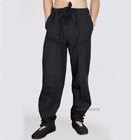 Black Cotton Casual Tai chi Kung fu Pants Martial arts Wing Chun Wushu Trousers