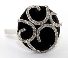 New Ladies 14K White Gold Diamond & Onix Ring