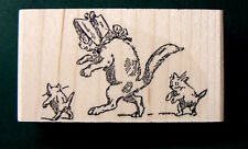 P39  Vintage style Cat with kittens rubber stamp WM