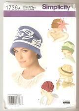 Simplicity Pattern 1736 Miss Vintage Style Fleece Hats in Three Sizes Sz S,M,L