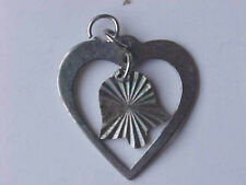 Silver Heart Charm Etched Bell Charm Heart Pendant Dangle 7/8""