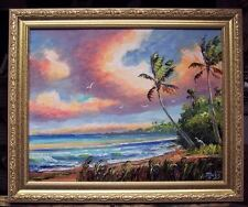 "TROPICAL SEASCAPE Oil Painting,  Beach, Palette knife Art,16 x 20"" Genuine Mazz"