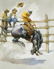 The Bucking Bronco  by NC Wyeth  Giclee Canvas Print Repro