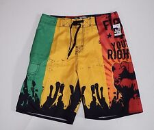 "Liquid Blue Size 32 Swim Board shorts Green Red Yellow "" fight for your rights"""