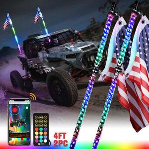 Two 4ft RGB LED Spiral Whip Light w/ Flagpole Antenna IR Remote & Bluetooth APP