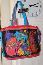 """Laurel Burch Black Kindred Creatures Cats Large Tote Print 14"""" x 20"""" x 6"""" NWT"""