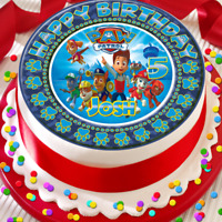 PAW PATROL HAPPY BIRTHDAY PERSONALISED 7.5 INCH EDIBLE CAKE TOPPER D-027G